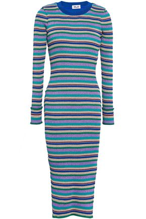 BAUM UND PFERDGARTEN Metallic striped ribbed-knit midi dress