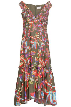 PETER PILOTTO Gathered printed stretch-cotton dress