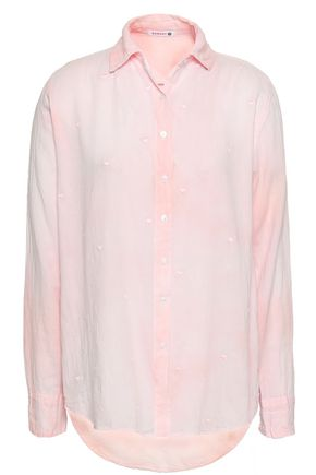 SUNDRY Embroidered cotton-gauze shirt
