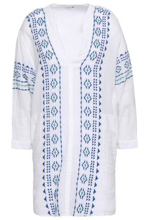 SUNDRY Embroidered cotton-gauze coverup
