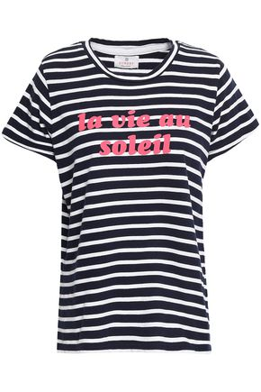 SUNDRY Printed striped cotton-jersey T-shirt