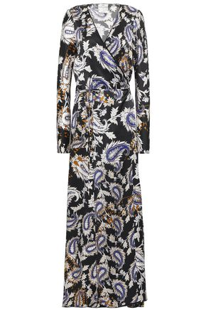 FORTE_FORTE Printed silk-satin maxi wrap dress