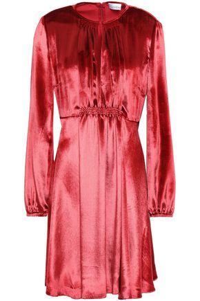 REDValentino Shirred velvet mini dress