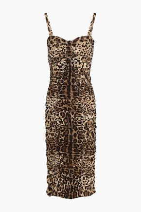DOLCE & GABBANA Ruched leopard-print stretch-silk dress