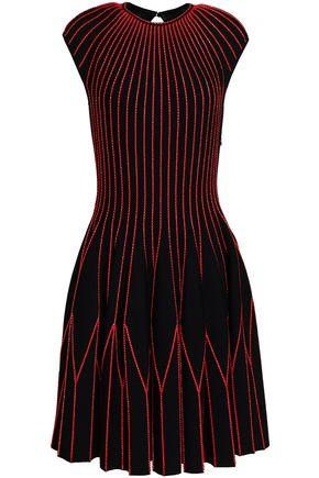 ALEXANDER MCQUEEN Embroidered wool-blend dress