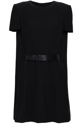ALEXANDER MCQUEEN Cape-effect crepe mini dress