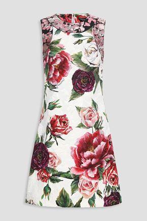 DOLCE & GABBANA Floral-print cotton-blend jacquard dress