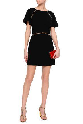 RACHEL ZOE Bead-embellished cutout crepe mini dress