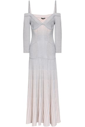 ALEXANDER MCQUEEN Cold-shoulder metallic ribbed wool-blend maxi dress