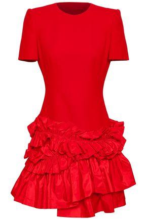 ALEXANDER MCQUEEN Ruffled faille and wool-blend mini dress
