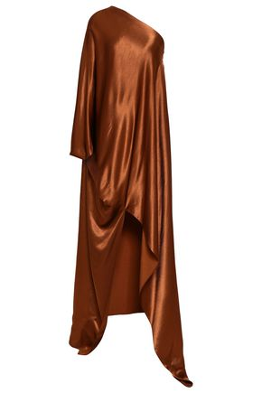 ROSETTA GETTY One-shoulder crepe-satin kaftan