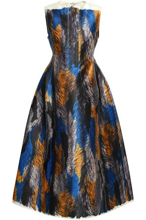 MARNI Printed taffeta midi dress