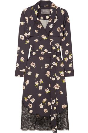 LELA ROSE Double-breasted lace-trimmed floral-print crepe midi wrap dress
