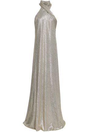 GALVAN  London Draped lamé gown