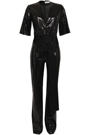 GALVAN  London Satin-trimmed sequined tulle jumpsuit