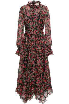 DOLCE & GABBANA Ruffle-trimmed gathered floral-print silk-chiffon midi dress