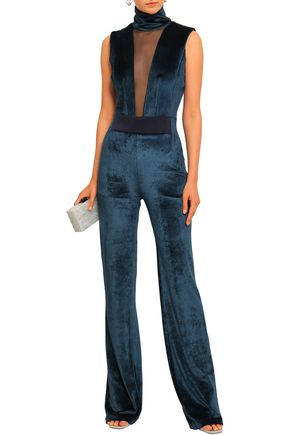 GALVAN  London Tulle-paneled crushed-velvet turtleneck jumpsuit