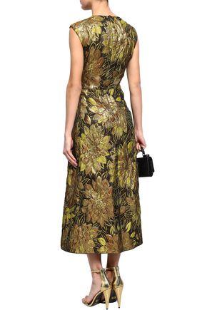 DOLCE & GABBANA Embellished appliquéd metallic brocade midi dress