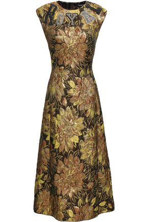 DOLCE & GABBANA Embellished appliquéd metallic brocade midi dress