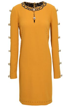 DOLCE & GABBANA Embellished cutout crepe dress