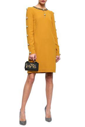DOLCE & GABBANA Embellished cutout crepe dress