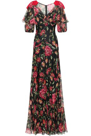 DOLCE & GABBANA Fluted floral-print silk-chiffon gown