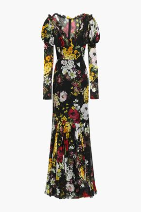 DOLCE & GABBANA Fluted wrap-effect floral-print silk-blend chiffon gown