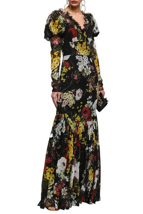 1349eb4a DOLCE & GABBANA Fluted wrap-effect floral-print silk-blend chiffon gown