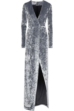 GALVAN  London Cloud wrap-effect crushed-velvet gown