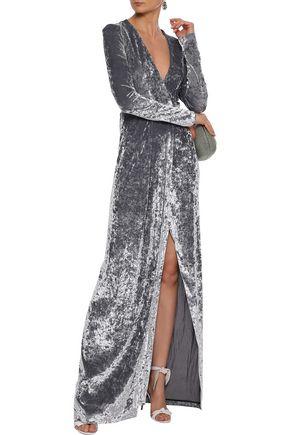 GALVAN  London Cloud wrap-effect crushed-velvet gown