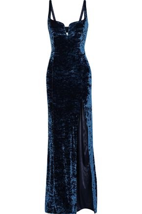 GALVAN  London Solstice crushed-velvet gown