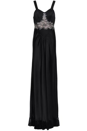 PACO RABANNE Corded lace-paneled pintucked satin gown