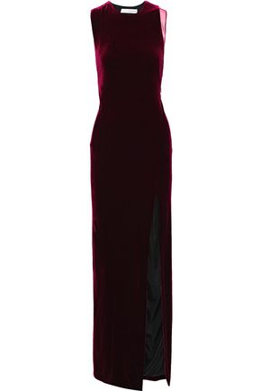 GALVAN  London Crescent tulle-paneled velvet gown