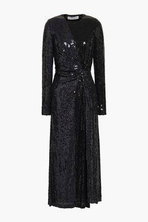 GALVAN  London Twist-front sequined silk midi dress