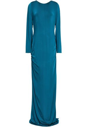 GALVAN  London Open-back ruched stretch-jersey gown