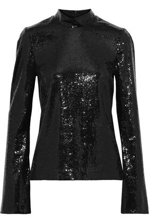 GALVAN  London Galaxy sequined mesh top