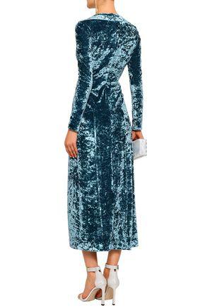 GALVAN  London Wrap-effect crushed-velvet midi dress