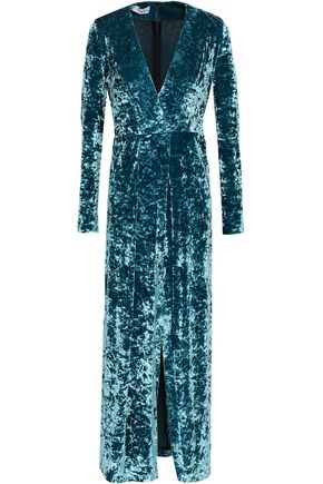 GALVAN  London Wrap-effect crushed-velvet midi dress
