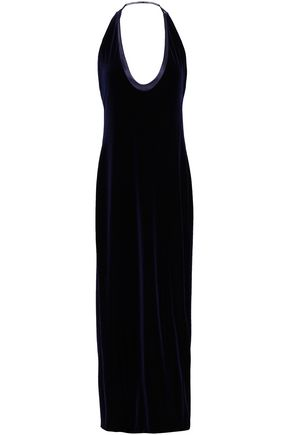 GALVAN  London Satin-trimmed velvet halterneck gown