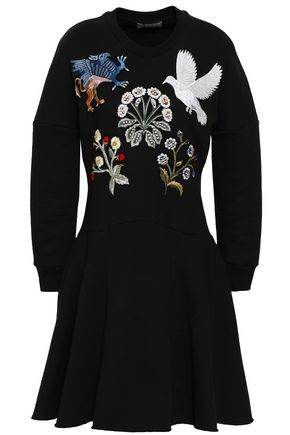 ALEXANDER MCQUEEN Embellished cotton-fleece mini dress