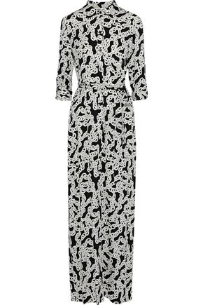 DIANE VON FURSTENBERG Amina belted printed stretch-silk maxi dress