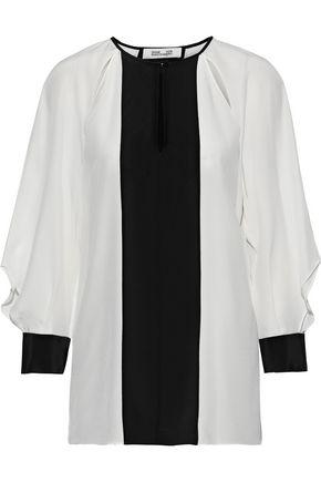 DIANE VON FURSTENBERG Aime cutout two-tone silk blouse