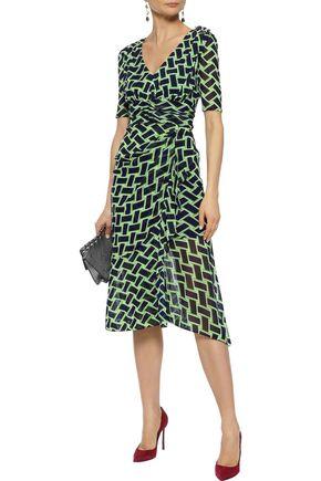 81a7c274dee DIANE VON FURSTENBERG Farrell wrap-effect printed stretch-mesh dress