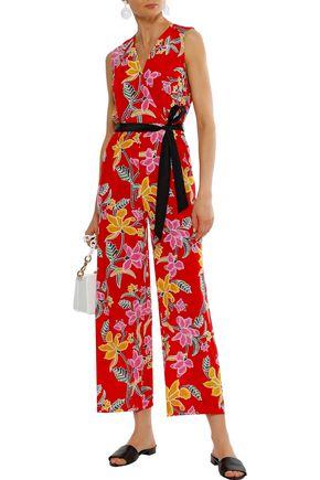 DIANE VON FURSTENBERG Wrap-effect floral-print silk jumpsuit