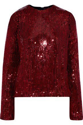 GALVAN  London Clara sequined silk top