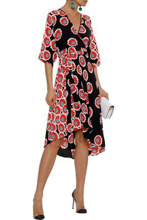 acfee334 DIANE VON FURSTENBERG Eloise asymmetric floral-print silk wrap dress