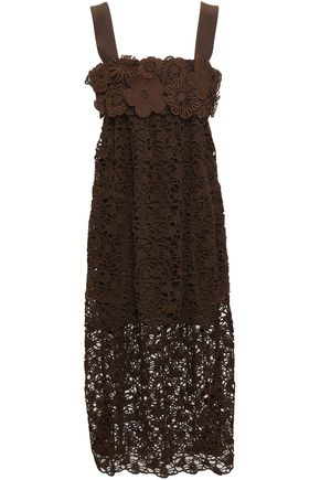 CHLOÉ Cotton guipure lace midi dress