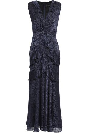 SALONI Ruffle-trimmed tiered devoré-velvet midi dress