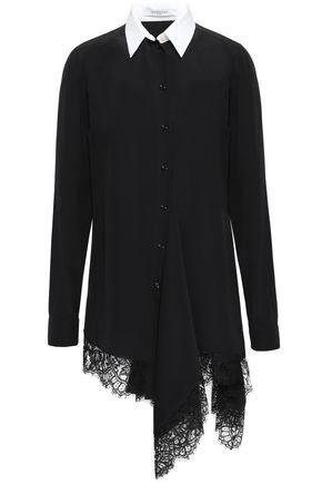 GIVENCHY Lace-trimmed silk crepe de chine shirt