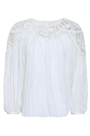 CHLOÉ Guipure lace-paneled crinkled-linen blouse